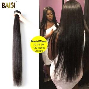 Image 4 - BAISI волосы перуанские прямые натуральные волосы, 3 пучка с 4X4 закрыванием, 100% натуральные волосы для наращивания, длинные, бесплатная доставка