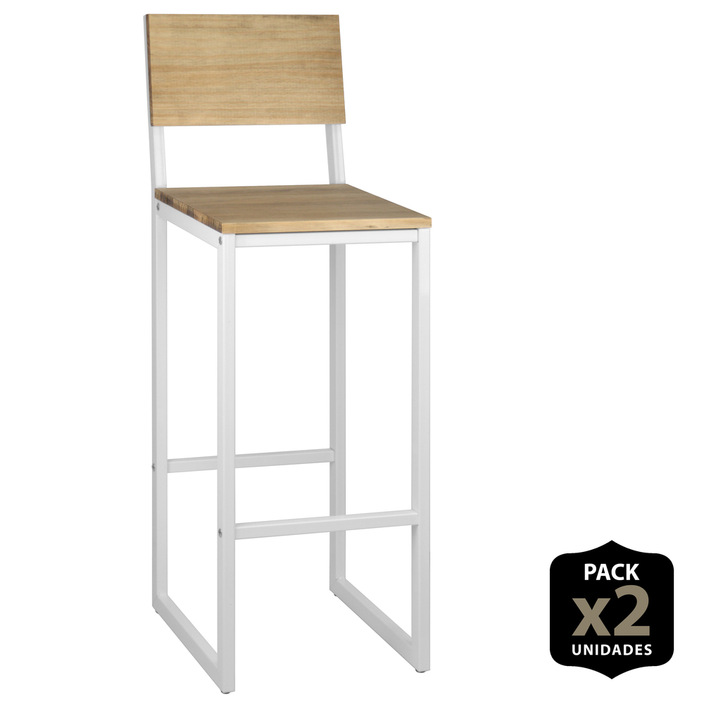 Pack 2 PCs Ndustrial Stool ICub With Backrest-38X36X106 Cm-Vintage Effect-White