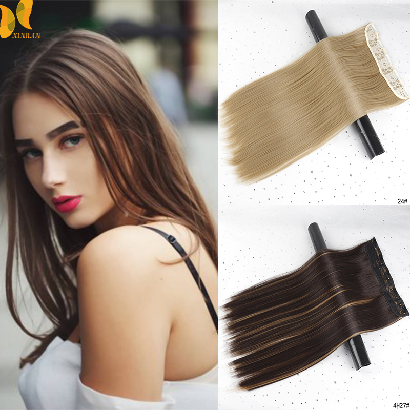 XINRAN Long Straight Women Clip In Hair Extensions Black Brown High Tempreture Synthetic Hair Piece  24 Inch Straight Fake Hair