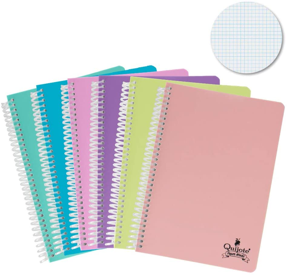 Quixote Paper World Pack 6 Notebook spirals, with grid, 4x4mm, plastic cap, 80 Leaves, 90 gram, A5 & A4 school Use