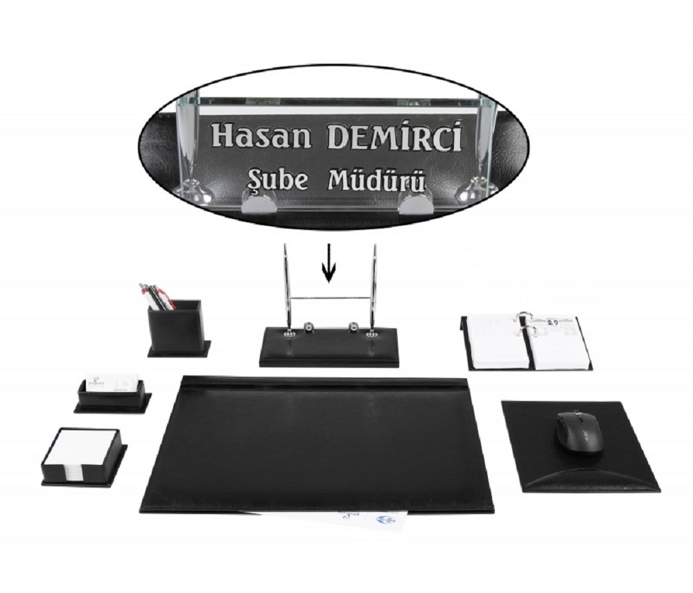 CEYHAN Office Business Black Leather Desk Set Desk Pad Set Crystal Table Nameplate Name Plate Tag Chief Organizer
