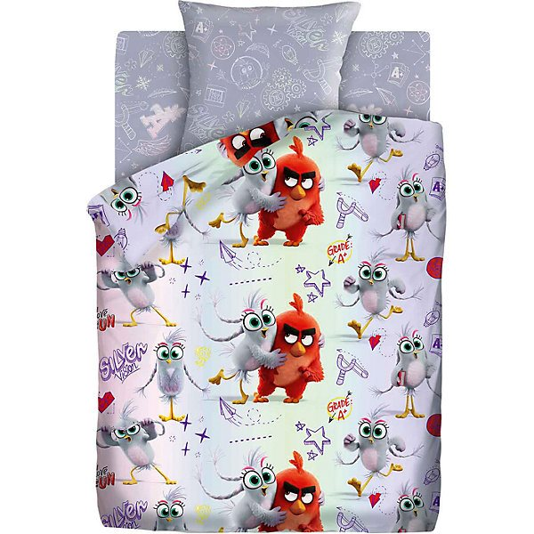 Baby bed linen 1,5 sp Angry Birds 2 Red and Silver, gray цена в Москве и Питере