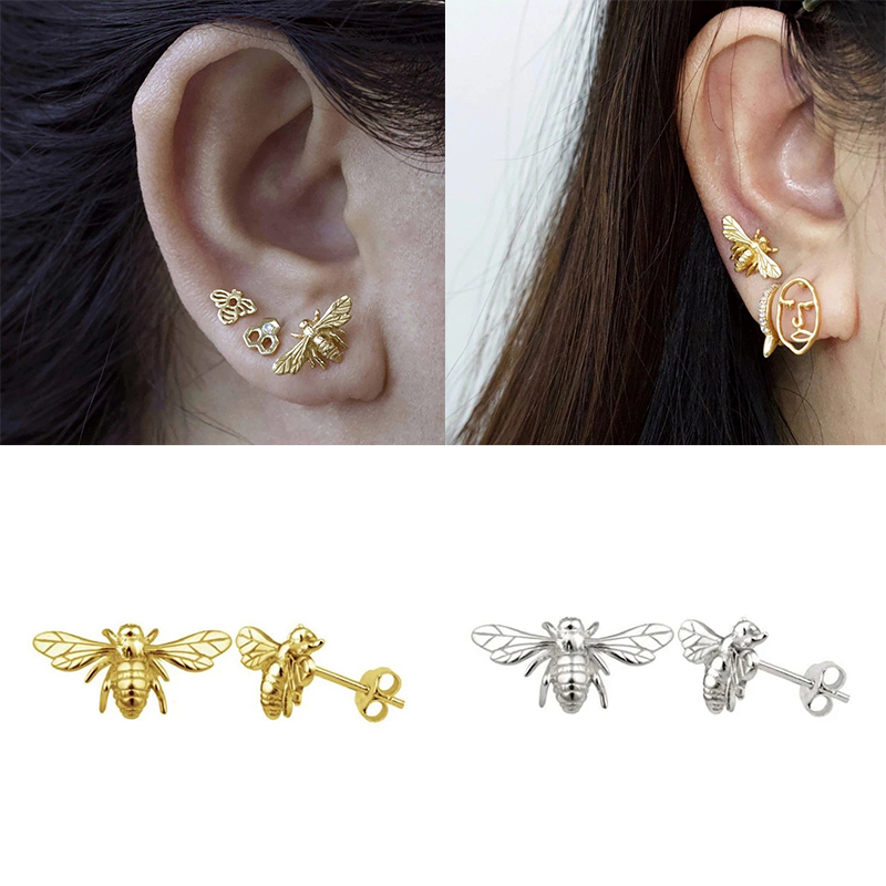 Trendy Bling S925 Sterling Silver Stud Earring Golden Silver Zircon Earrings For Women Girl Couples Charms Jewelry Accessories