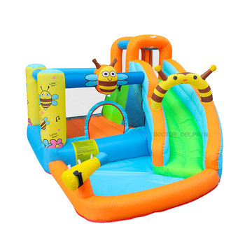 Bee Inflatable Water Slide Pool Bounce House Aquapark Bouncer Jumping Bouncy Castle for Kids With Blower цена 2017