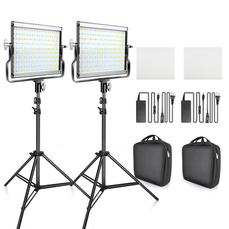 Travor Dimmable Bi color 2set LED Video Light Kit with U Bracket 3200K 5600K CRI96 and Travor Dimmable Bi-color 2set LED Video Light Kit with U Bracket 3200K-5600K CRI96 and Bag for Studio Photography Video Shooting