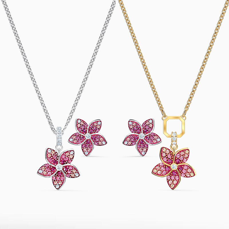 SWA 2020 Fashion New High Quality Exquisite TROPICAL FLOWER Pink Necklace Romantic Happiness Wife Anniversary Birthday Best Gift