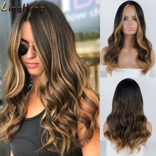 Linghang Long Black to Brown Ombre Wigs Synthetic W