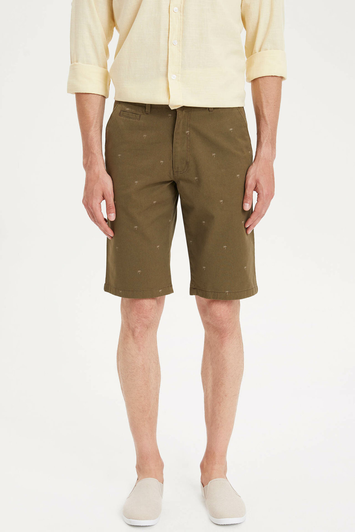 DeFacto Man Summer Khaki Color Casual Shorts Men Mid-waist Losoe Short Bottoms Male Shorts-K6967AZ19SM