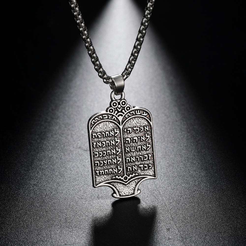 Likgreat Vintage kaplama yahudi tevrat kaydırma 10 emirleri İbranice gümüş renk kolye kolye Charm etnik takı hediye