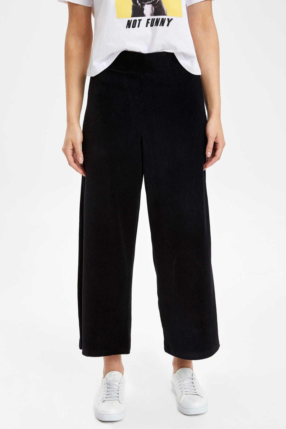 DeFacto Woman Spring Loose Black Pants Women Casual Wide-leg Ninth Pants Female Elastic Bottom Trousers-K6278AZ19SP