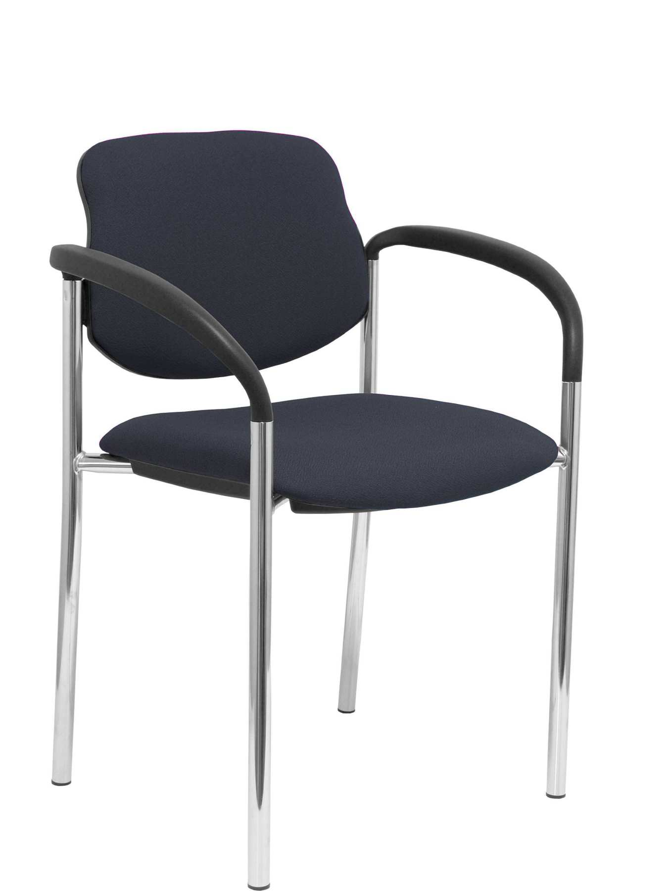 Confident Chair 4-leg And Estructrua Chrome Arms-Seat And Back Upholstered In Fabric BALI Gray Osc