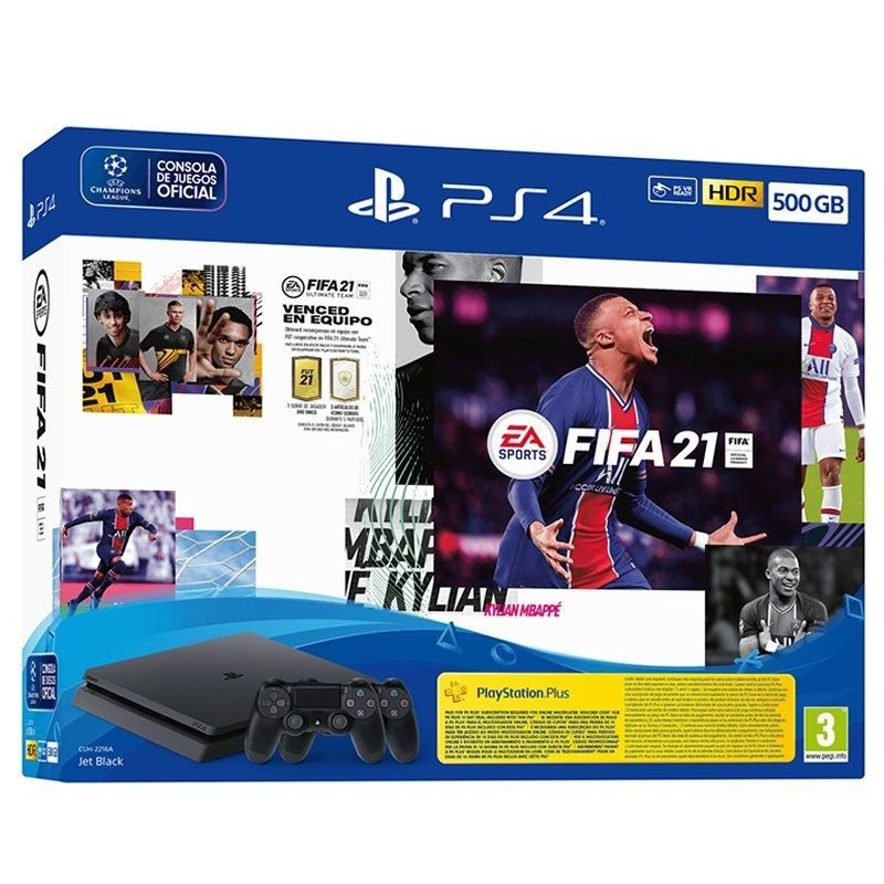 Sony playstation 4 konsole slim 500gb + fifa 21 + fut 21 downloadable inhalt + test code 14 ps plus tage + controller