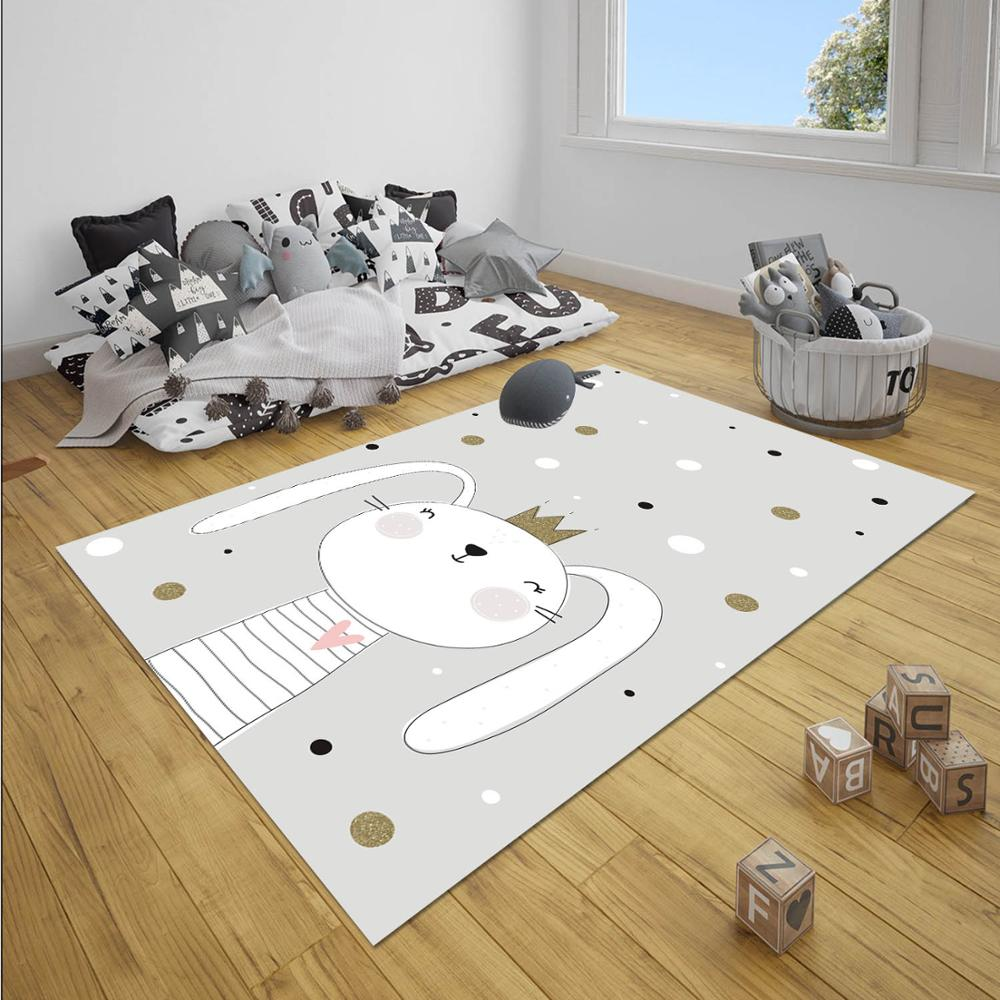 Else Gray Yellow Stars King Crown Rabbit Boy 3d Print Anti Slip Microfiber Children Baby Kids Room Decorative Area Rug Mat