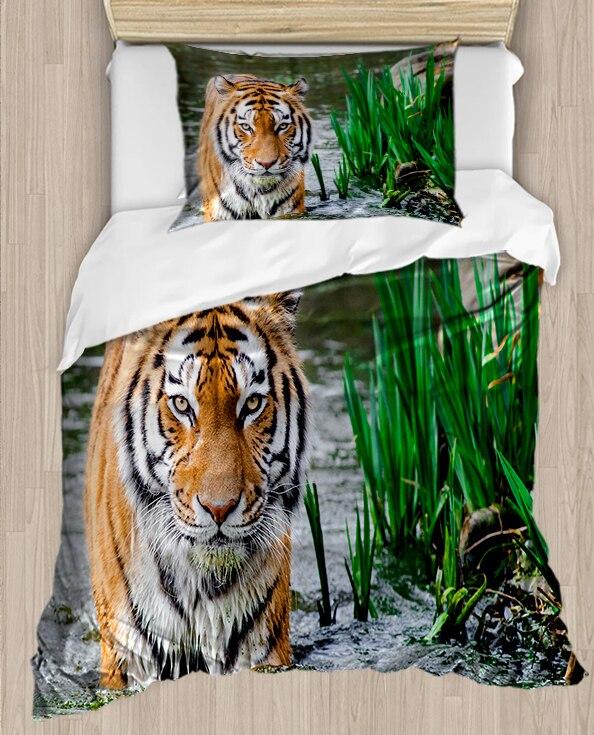 Else Wid Brown Tiger Green Floral In River 4 Piece 3D Print Cotton Satin Single Duvet Cover Bedding Set Pillow Case Bed Sheet
