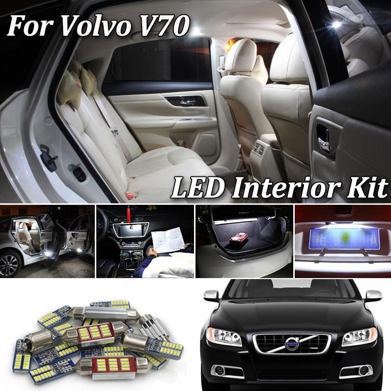 100% White Error Free Canbus For Volvo V70 Car LED License Plate Lamp + Interior Dome Map Light Package Kit (1996-2017)