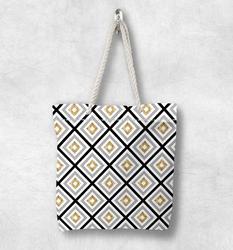 Else серая черная желтая Геометрическая Модная белая парусиновая сумка с веревочной ручкой, хлопковая Холщовая Сумка На Молнии, сумка на плеч...