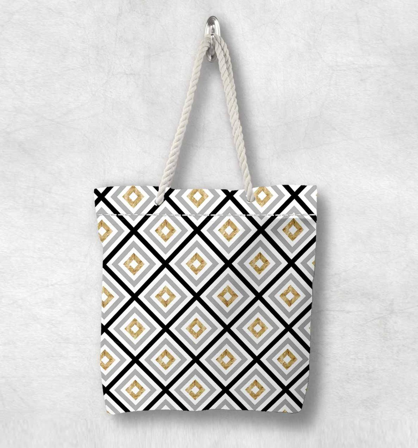 Else Gray Black Yellow Lines Tiles Geometric Fashion White Rope Handle Canvas Bag Cotton Canvas Zippered Tote Bag Shoulder Bag