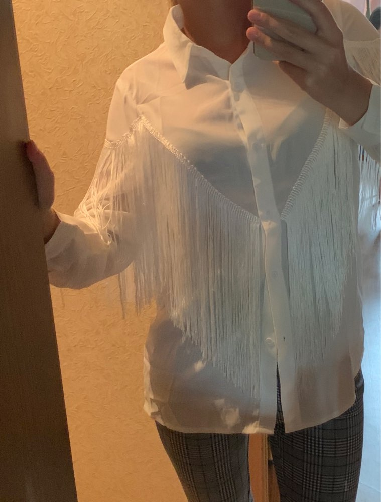Chevron Fringe Trim Women Shirts Ladies Tops Long Sleeve Placket Spring Summer White Blouse Casual Solid Shirt photo review
