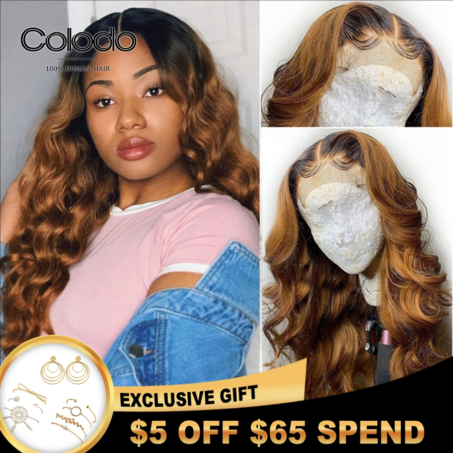 COLODO Blonde Lace Front Wig With Baby Hair 13X4 Loose Deep Wave Wig Remy Hair Brazilian Lace Front Human Hair Wigs For Women