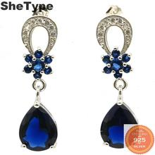 31x9mm Gorgeous 4.2g Created Tanzanite Natural White CZ Gift For Girls Real 925 Solid Sterling Silver Earrings