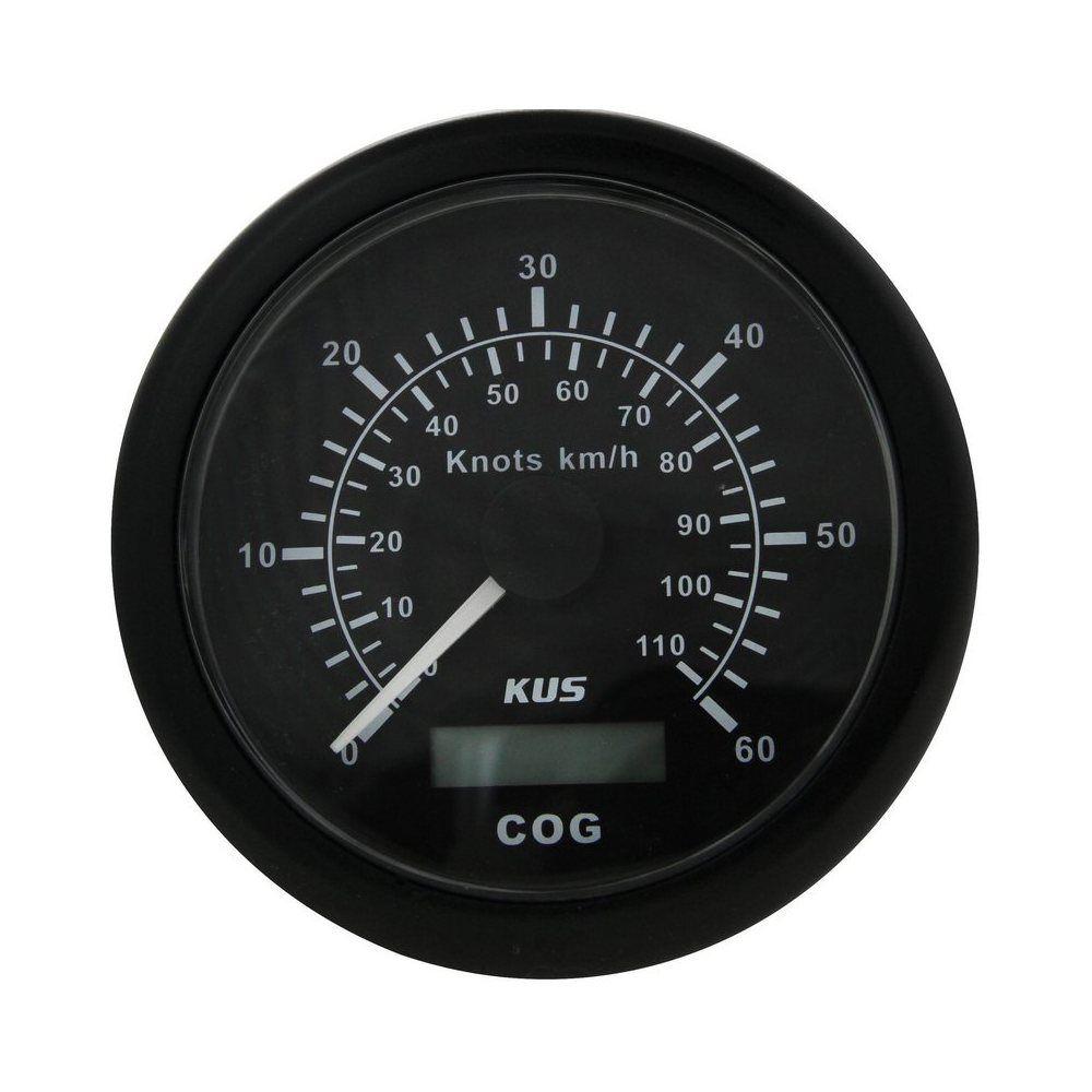 GPS スピードメーターアナログ 0-60 ノット、ブラックダイヤル黒ベゼル、リモートアンテナ、など 85 ミリメートル KY08211