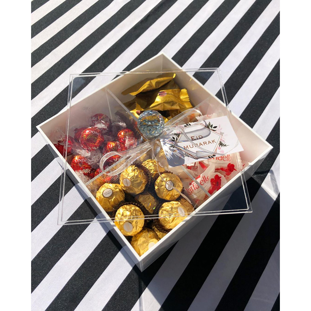 Acrylic Multi Sectional Snack Serving Tray Set with Lid 4 slots Divided Camping Keto Snack Plate Dish Platter Food Storage