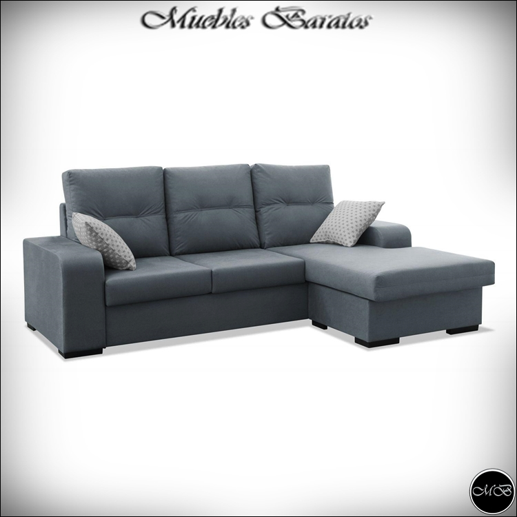 Sofa Chaise Longue, 3 Seater, WALKING STREET, Color GREY Ref-69