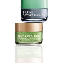 L'Oreal Paris Pure Clay Detox Mask + Black Dot Anti-Sugar Exfoliating Kiwi Seed Skin Care Set