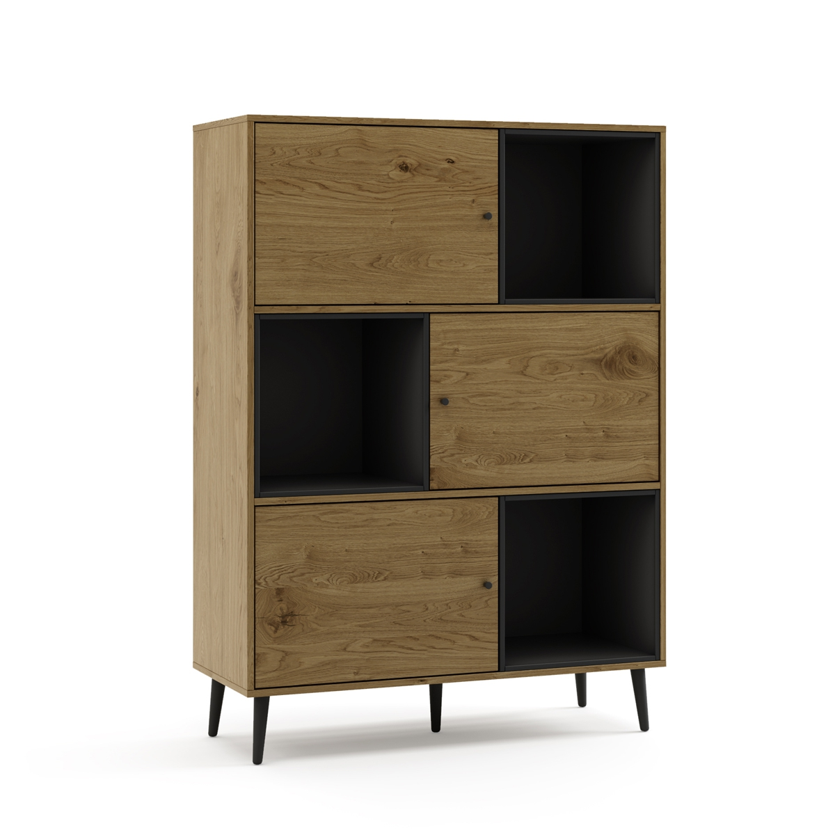 Furniture De Shelves Wood Natural And Black, Wall Shelving Books Salon Dining Room Dorm Room's Design Nordic 100x40x135cm
