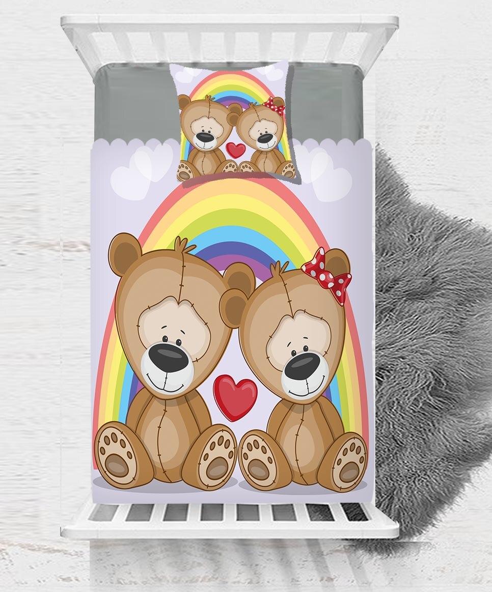 Sinon amour brun ours en peluche arc-en-ciel cœurs impression 3D coton Satin couvre-lit unique couvre-lit cadeau combiner taie d'oreiller