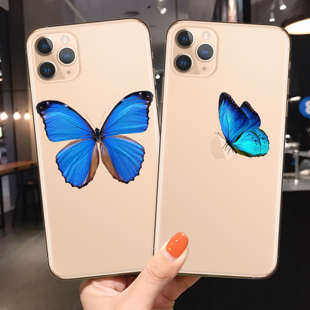 Cute Butterfly Blue Phone Case For Iphone 11 Pro Max Cases Clear Tpu Soft For Iphone Xr Xs Max X 7 8 Plus Fundas Coque Cover Phone Case Covers Aliexpress