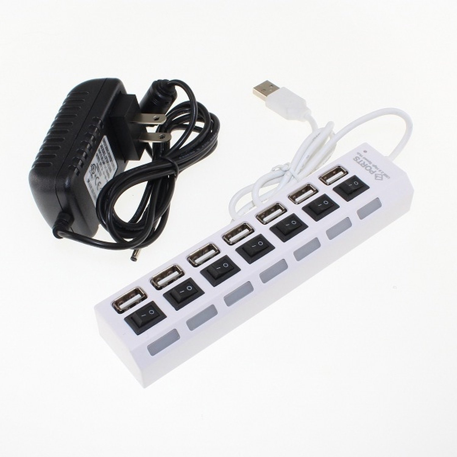 7 Port High Speed USB 2.0 Hub with Power Adapter And Dividual Power Switches, Blue LED Indicator
