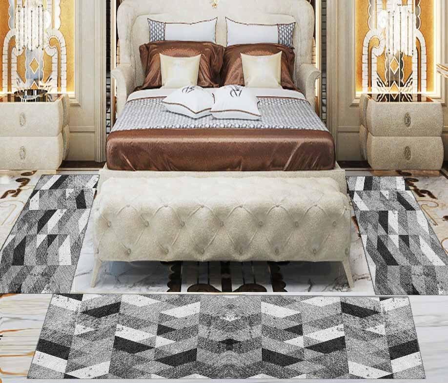 Else 3 Piece Black Grey White Patchwork Nordic 3d Print Non Slip Microfiber Washable Decor Bedroom Hallway Area Rug Carpet Set