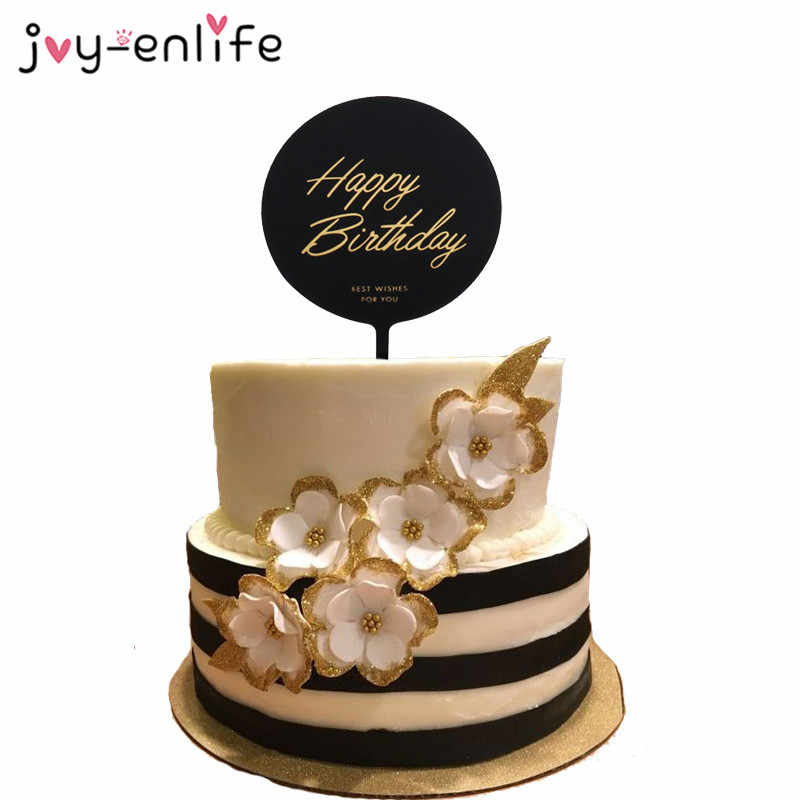 Outstanding Happy Birthday Acrylic Cake Toppers Black White Circle Square Hook Funny Birthday Cards Online Alyptdamsfinfo