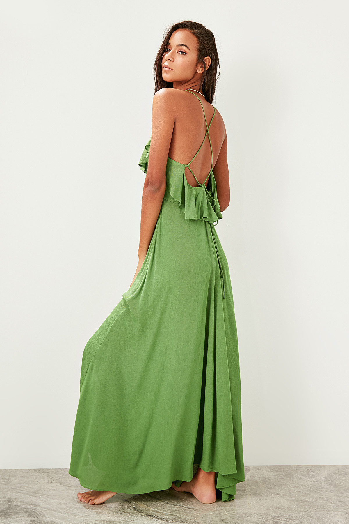 Trendyol Pendant Flounces Viscose Beach Dress TBESS19WY0004