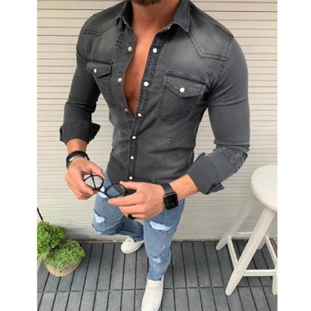 New Men's Denim Fashion Shirts Long Sleeve