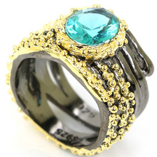 купить 23x15mm Vintage Style Oval Rich Blue Aquamarine Gift For Girls Black Gold Silver Rings дешево