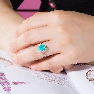 Image 5 - GZXSJG Paraiba التورمالين الأحجار الكريمة الدائري للنساء الصلبة 925 فضة التورمالين الماس خاتم يدوي الصنع للذكرى