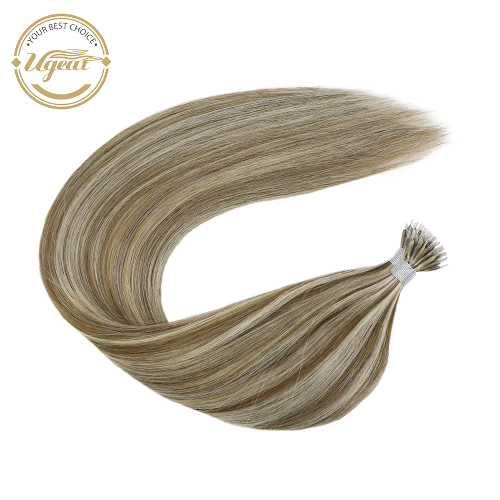 Ugeat Nano Ring Human Hair 50strand/pack 14-24inch 100% Human Hair Machine Remy Hair Silky Straight Nano Tip Real Hair Extension