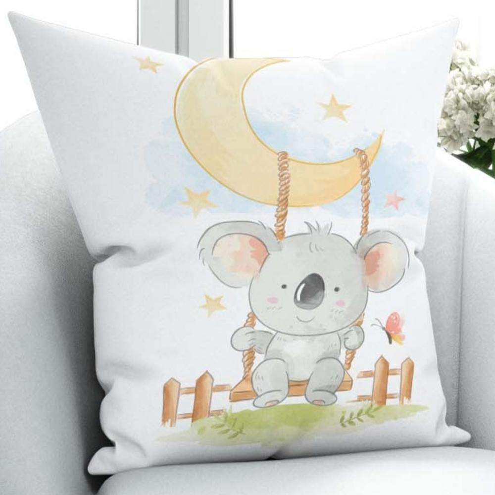 Else Sweet koala swinging on yellow moon 3D Print Microfiber Throw Pillow Case Cushion Covers  Square Hidden Zipper 45x45cm|Pillow Case| |  - title=