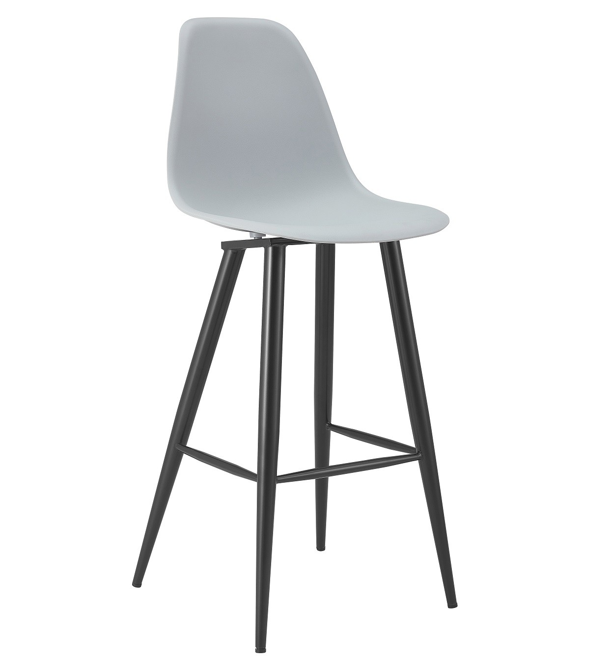 Stool CLUNY, Metal Epoxy Black, Polypropylene Gray