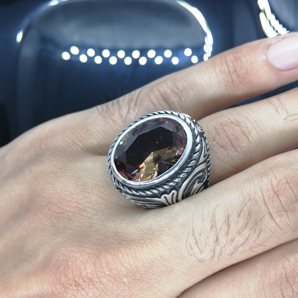 Sterling Silver Ring 925 With Stone For Men For Women Zultanite Gemstone Gift For Him Men's Rings Handmade - Turkish Jewelry