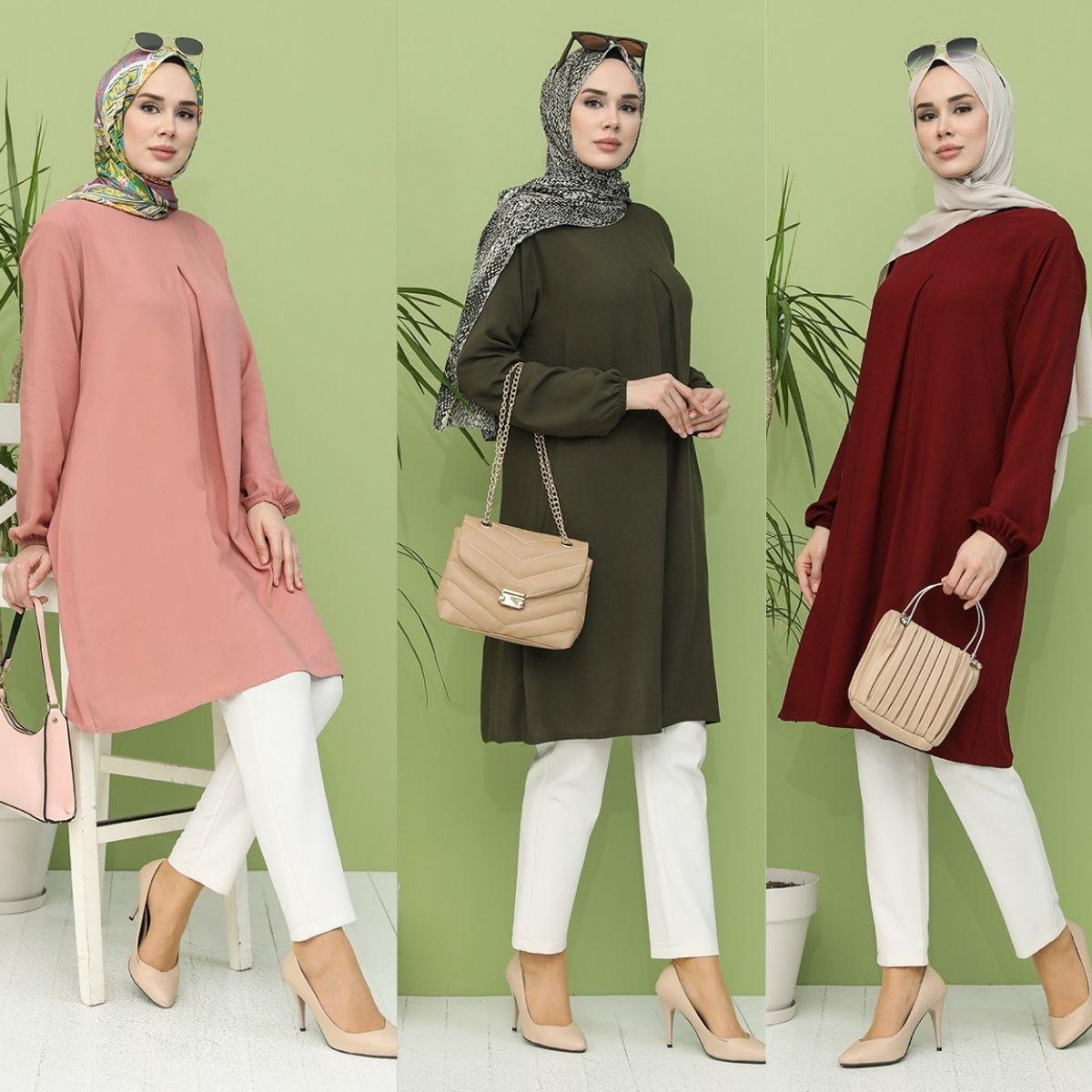 A Pleat Tunic Long Elastic Sleeve Zero Collar Plenty Comfortable Useful Women Muslim Fashion Hijab Wear Modern Stylish Ladies Da