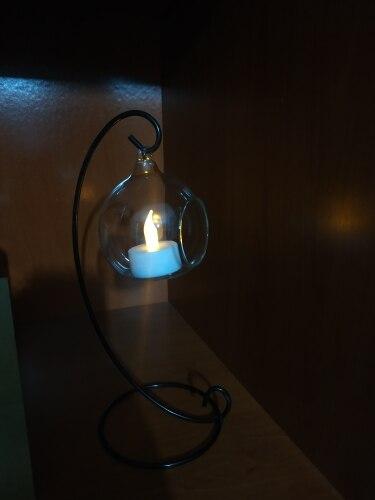 Rétro boule de verre support bougeoir de mariage fer Art décoration de la maison