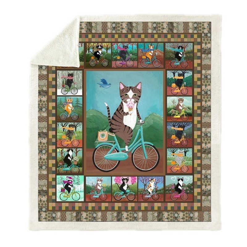 映画アニメペット猫プリント豪華なスローブランケットシェルパフリースベホーム毛布ベッドキャンプソフト正方形のブランケット