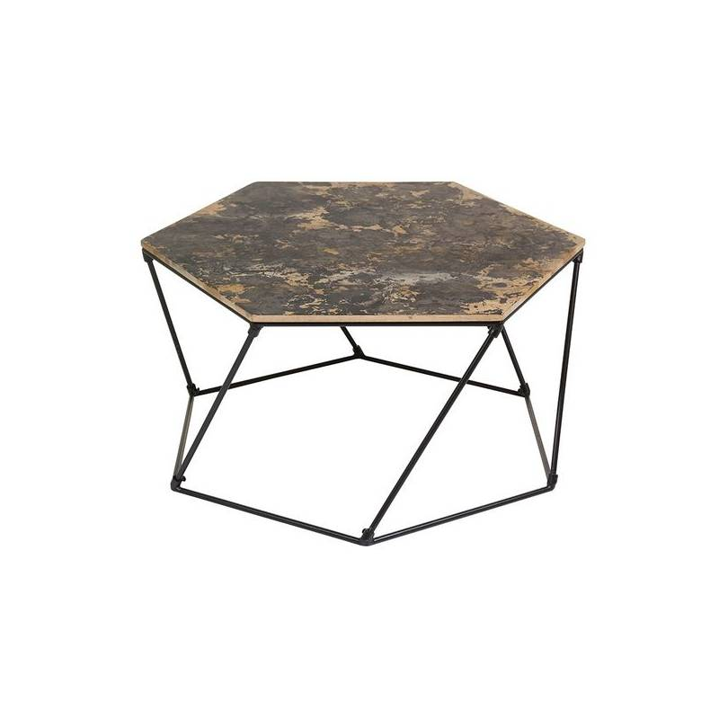 Coffee Table (90x90x45 Cm) Iron Wooden Handle