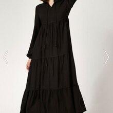 Женское черное платье-хиджаб на 4 сезона, Повседневное платье 1627, кружевное платье-хиджаб с лацканами 1627bgd19 _ 001, лидер продаж