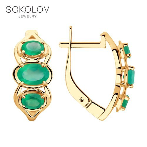 SOKOLOV Drop Earrings With Stones With Stones With Stones Of Gold With Agate Fashion Jewelry 585 Women's Male