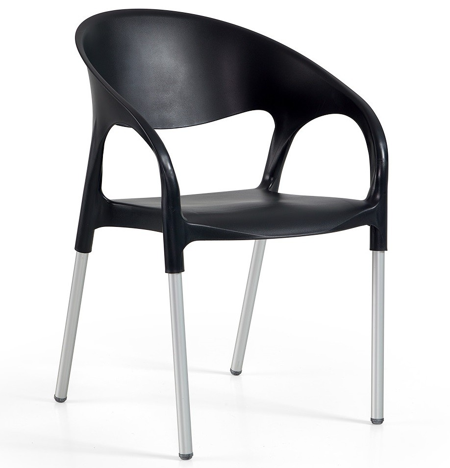 Armchair MOON, Aluminum, Black Polypropylene *