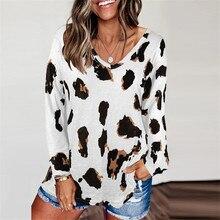ヒョウvネックの女性のtシャツ長袖ルーズトップ女性カジュアルソフトトップスtシャツ女性原宿mujer camisetas